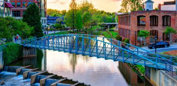 Foot bridge over Reedy River in Greenville, SC