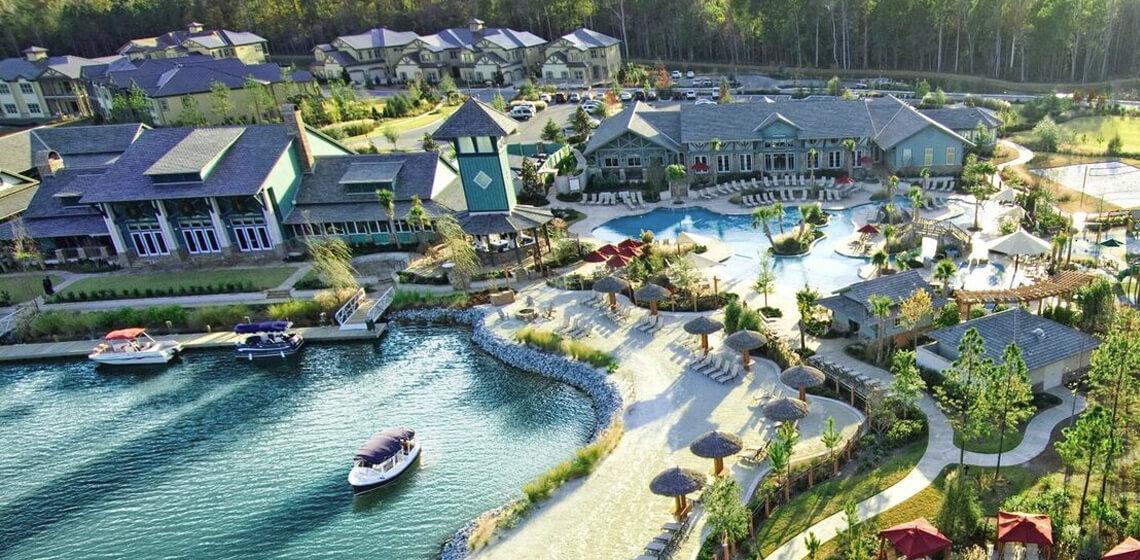 Aerial view of the Hampton Lake community in Hilton Head