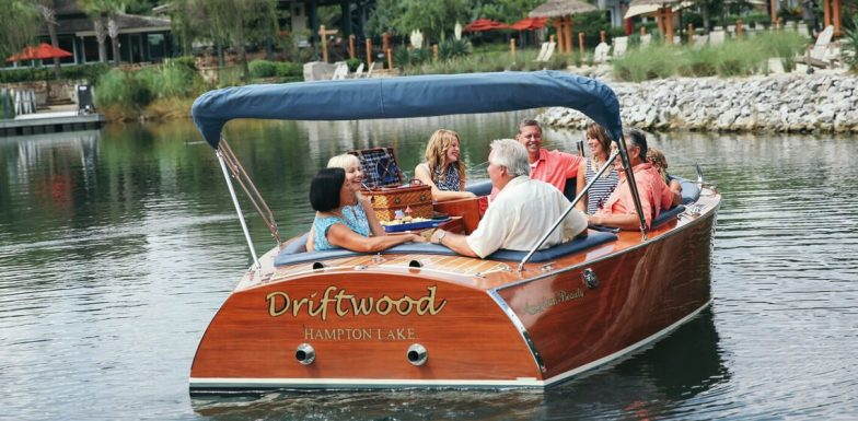 Group of friends on a boat at Hampton Lake in Hilton Head